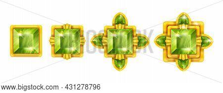 Game Gem Crystal Set, Diamond Ui Badge Kit, Jewel Stone Green Level Up Achievement Concept. Magic Em