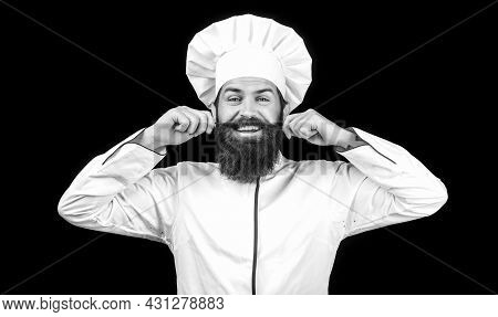 Cook Hat. Bearded Chef, Cooks Or Baker. Bearded Male Chefs Isolated On Black. Funny Chef With Beard