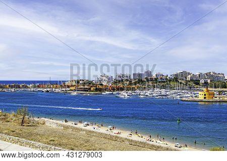 Fishing Port And Beach Of The Beautiful Fishing Port Of Ferragudo, Algarve, Portugal