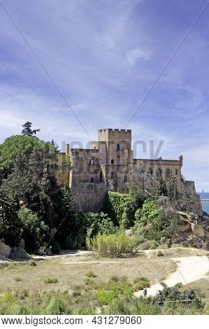 Medieval Castle Of Ferragudo, Ancient Fishing Village Of The Algarve, Portugal. Vertically