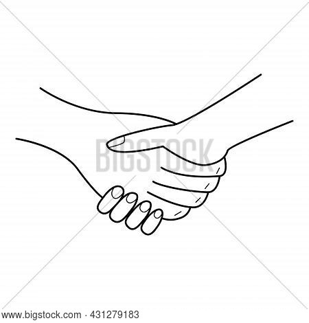 The Hand Shakes The Hand. A Handshake Gesture. A Symbol Of The Conclusion Of A Contract, Transaction