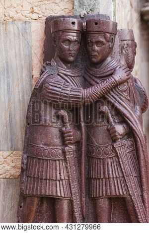 The Tetrarchs Is A Famous Porphyry Sculpture Of Four Roman Emperors, Sacked From The Byzantine Palac