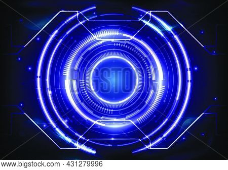 Futuristic Sci-fi Glowing Hud Element. Abstract Hi-tech Background. Circuit Lines Of Head-up Display