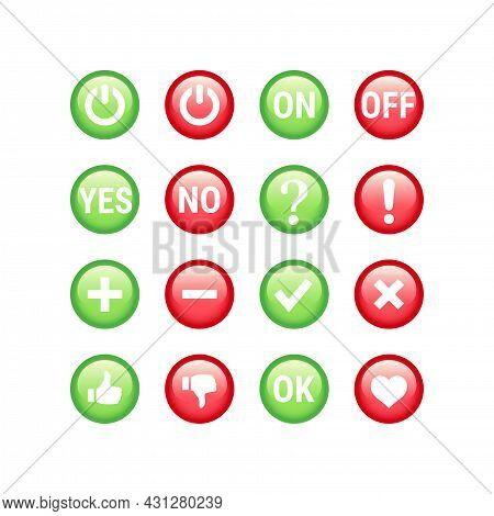 Colorful Red And Green Yes And No Button Set. Tick, Checkmark, Ok, Like Shiny Or Glossy Buttons.