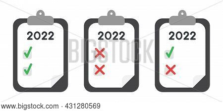 New Year 2022 Vector Concept, Clipboard With Paper, Checkboxes, Check Marks And Cross Marks. Flat Co