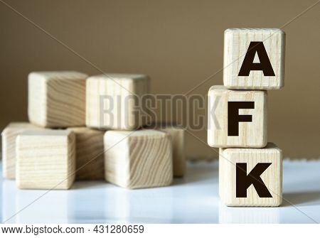 Afk (away From Keyboard) - Acronym Nadrevyannye Cubes On A Brown Background