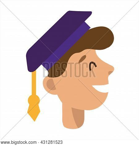 Student Graduate Wearing A Student Cap. Smile And Joy. Graphic Design For Language Courses, Online E