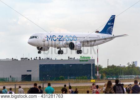 Moscow, Russia - 07 25 2021: The Irkut Mc-21 300, Russia's Newest Passenger Aircraft Test Plane Perf