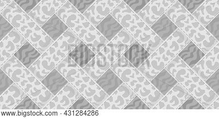 Woven Geometric Ornament, Interweaving Of Ribbons With An Animalistic Pattern In Shades Of Gray, Sea