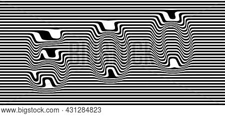 Distorted Numbers 500 On A Striped Black And White Background. Eps10 Vector Illustration.