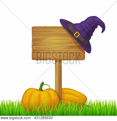 Wooden Board On Post In Green Grass. Signboard From Wood Planks On Lawn Or Field. Vector Realistic O