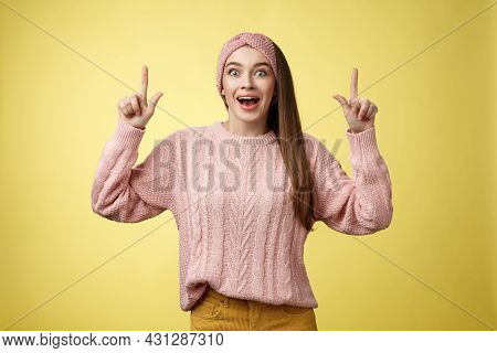 Ecstatic Amused Positive Young 20s Woman Wearing Casual Sweater, Headband Dropping Jaw Amazed Lookin