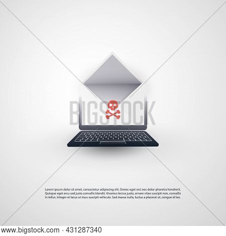 Hacked Laptop And Envelope With Skull And Crossbones Sign On The Screen - Virus, Malware, Ransomware
