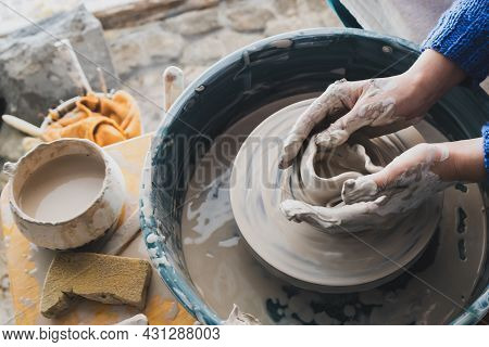 Cannot Create A Clay Pot On A Potter's Wheel. Failure To Create A Ceramic Product