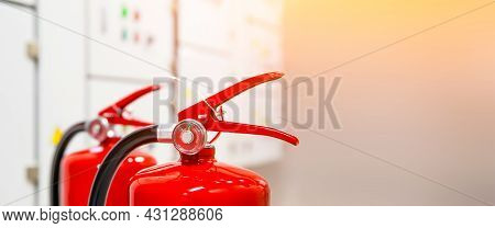 Fire Extinguisher, Close-up Red Fire Extinguishers Tank In Electric Main Circuit Breaker Control Roo