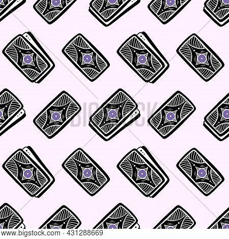 Tarot Cards Vector Seamless Pattern Background For Fortune-telling And Psychic Reading Design.