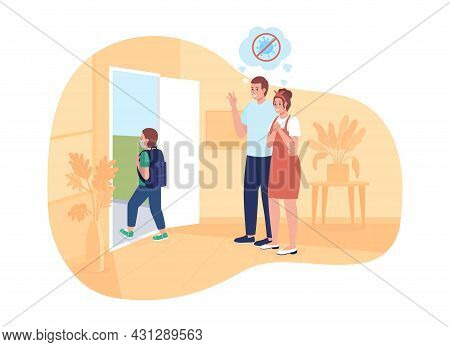 Happy Parents See Their Son Off To School 2d Vector Isolated Illustration. Schoolboy Returns Back To