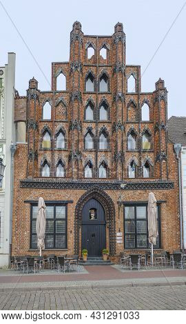 House Named Alter Schwede In Wismar, A Hanseatic City In Northern Germany