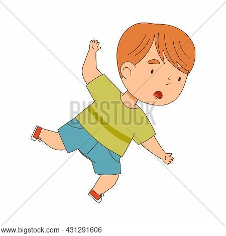 Cute Boy Tumbling Over And Stumbling While Running And Rushing At Full Speed Vector Illustration