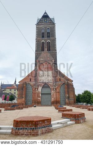 Scenery Around St Marys Church In Wismar, A Hanseatic City In Northern Germany