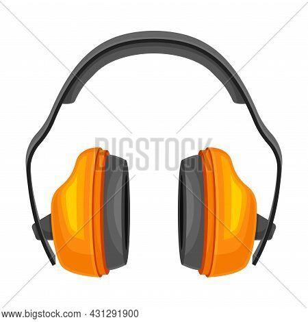 Orange Earmuffs Or Ear Defenders As Safety Equipment Vector Illustration
