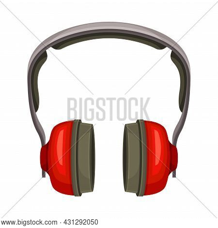 Red Earmuffs Or Ear Defenders As Safety Equipment Vector Illustration