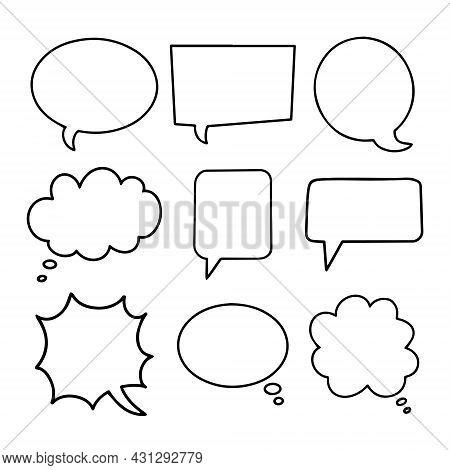 Speech Bubbles Hand Drawn Collection. Simple Empty Black Dialog Boxes Set