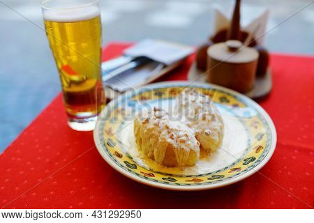 Lithuanian Cepelinai, Dumplings Made Of Grated And Riced Potatoes And Stuffed With Ground Meat, Dry