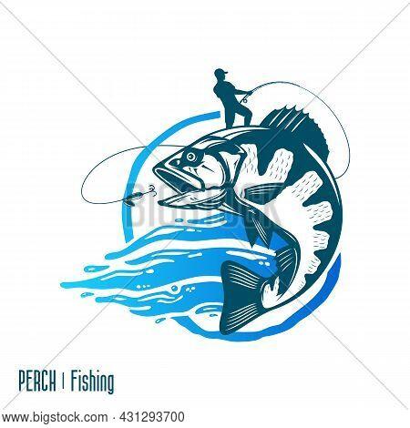 Fishing Logo With Jumping Fish And Fisherman