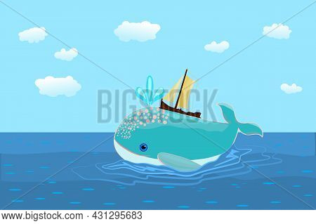 Whale And Boat In The Ocean. Small Yacht On Friendly Whale In The Sea. Traveling Ship And Smiling Bl