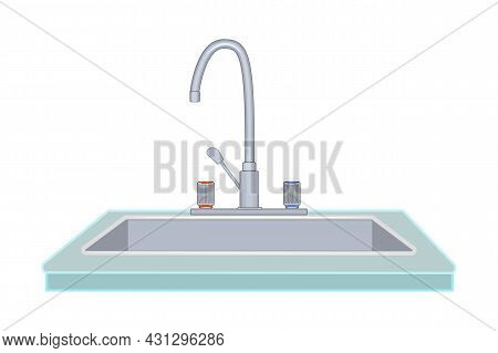 Kitchen Sink With Faucet Isolated On White Background. Steel Home Sink With Tap Icon. Toilet Or Bath