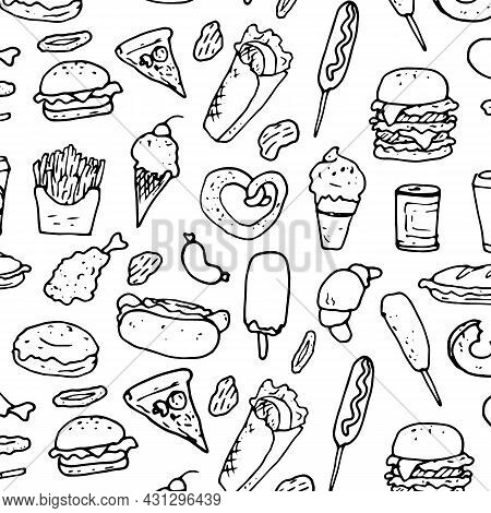 A Pattern From Fast Food. Vector Pattern Of Ice Cream, Croissants, Pizza, Burgers, Sandwiches, Hot D