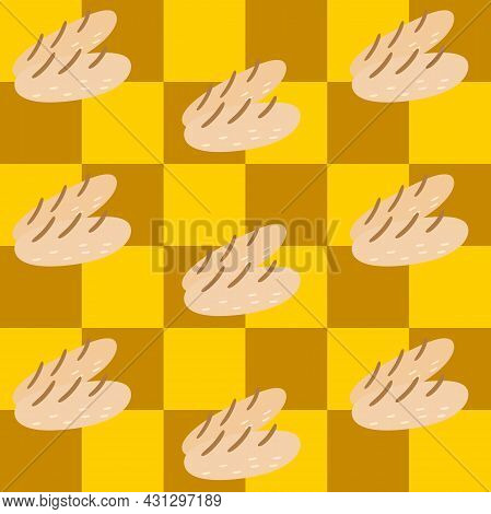 Seamless Pattern. Cute Baguette On Checkerboard Pattern Yellow And Brown. For Tablecloth, Kitchen De