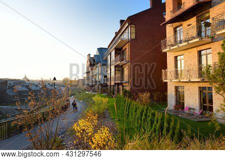 New Residential Area In Vilnius, Lithuania. Modern Apartment Complex. Low Rise European Apartment Bu