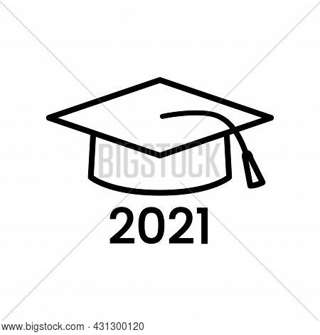 School Hat Line Icon. University Graduate Student Outline Cap Symbol. Academy Diploma Logo. College