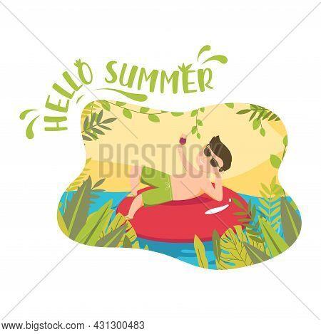 Hello Summer Illustration Man Drink On Red Ring