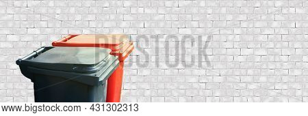 Panoramic Banner Of Two Trash Bin On White Brick Background. Separate And Sorting Garbage. Recycling