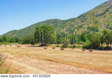 Bosnian Countryside On Summer Day.  Mountain Valley In Dinaric Alps. Bosnia And Herzegovina, Republi