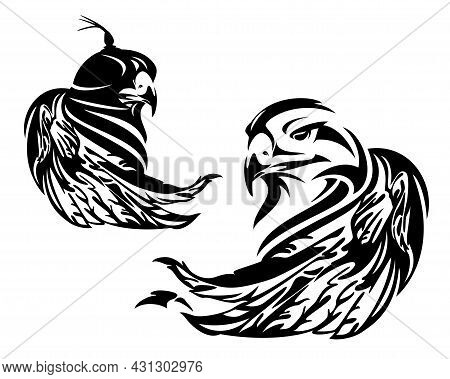 Falcon Wearing Hood Cover And Wild Eagle  - Hunting Bird Black And White Vector Head And Wing Portra