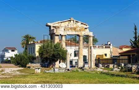 Roman Agora In Summer, Athens, Greece. It Is Tourist Attraction Of Athens. Scenic View Of Ruins Of A