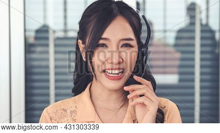 Video Call Camera View Of Businesswoman Talks Actively In Videoconference . Call Center, Telemarketi