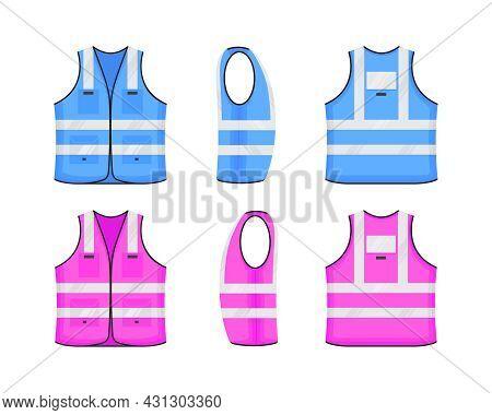 Safety Reflective Vest Icon Sign Flat Style Design Vector Illustration Set. Pink And Blue Fluorescen