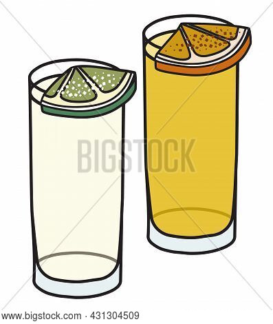Silver And Gold Tequila Garnished With Slice Of Lime And Salt, Opange And Cinnamon. Stylish Hand-dra