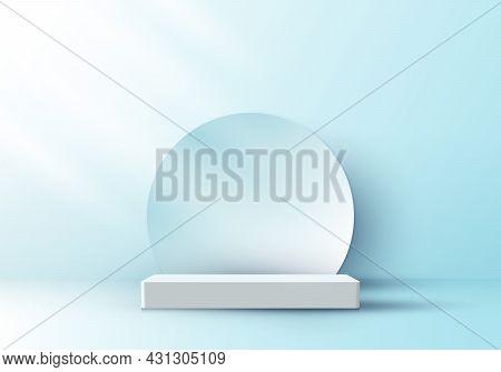 3d Realistic Elegant Display White Pedestal Podium With Circle Backdrop On Soft Blue Color Studio Ro