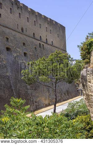 The Scenic Road Among The Rocks On The Vomero Hill Leading To Medieval Castel Sant'elmo, Naples, Ita