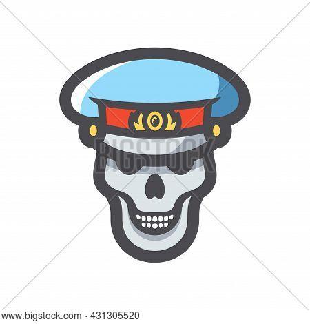 Russia Police Dead Cop Vector Icon Cartoon Illustration.