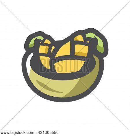 Boiled Corn Dish Vector Icon Cartoon Illustration.