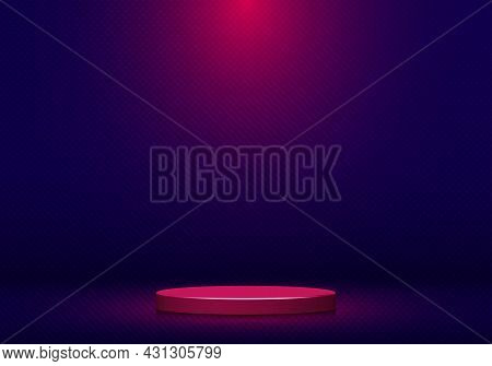 3d Realistic Pink Round Shape Pedestal With Spotlight On Blue Studio Room Background And Texture. St