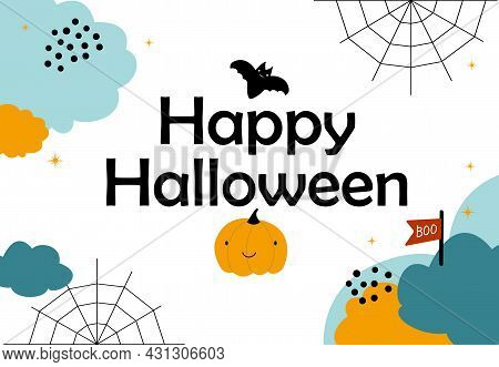 Cute Halloween Background For Banner . Clouds Sky, But, Pumpkin And Cobweb. Vector Flat Style Illust