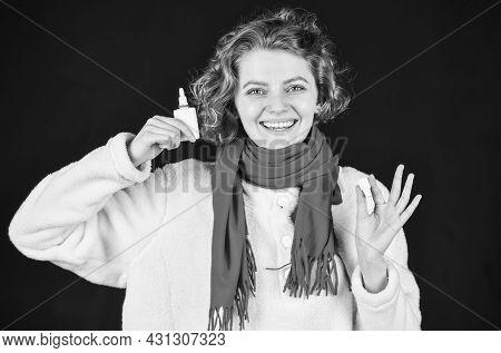 Use Nasal Spray. Coronavirus Outbreak Concept. Sick Woman Sneezing At Home. Holding Handkerchief To